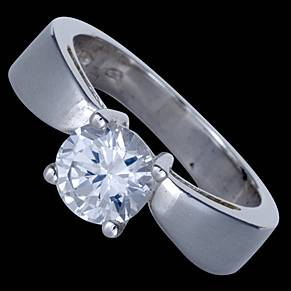 Silver ring, CZ, with zircon
