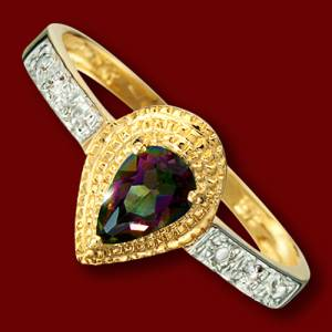Gold ring, mystic topaz, diamonds, engagement