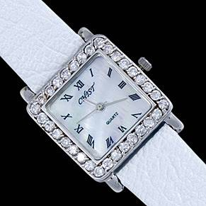 Silver watch, CZ, square