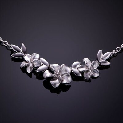 Silver necklace, flowers