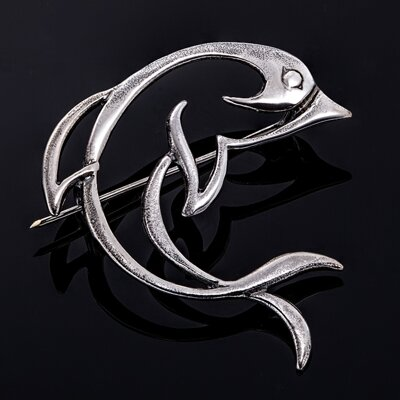 Sterling silver brooch, dolphine