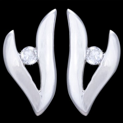 Silver earrings, CZ, V-shaped