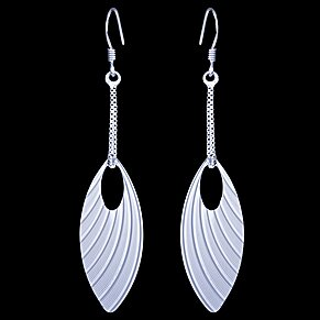 Silver earrings, butterfly wings