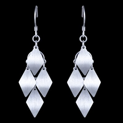 Silver earrings, rhombs