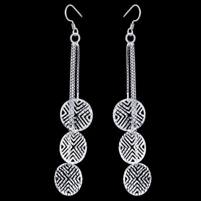 Silver earrings, chains