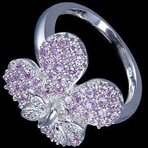 Silver ring, CZ, flower with butterfly